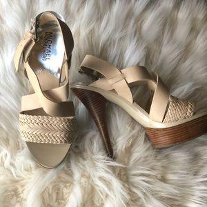 MICHAEL Michael Kors Nude Leather Heels Size 6 1/2
